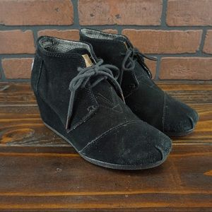 TOMS Desert Black Suede Lace Wedge Ankle Booties